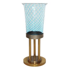 Large Italian Glass Vase on Solid Brass Pedestal by VeArt