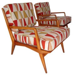 Fabulous Pair of Italian Lounge Chairs by Carlo Di Carli