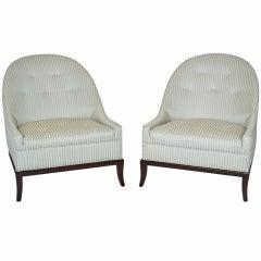 Pair of Rare Slipper Chairs by T.H. Robsjohn-Gibbings