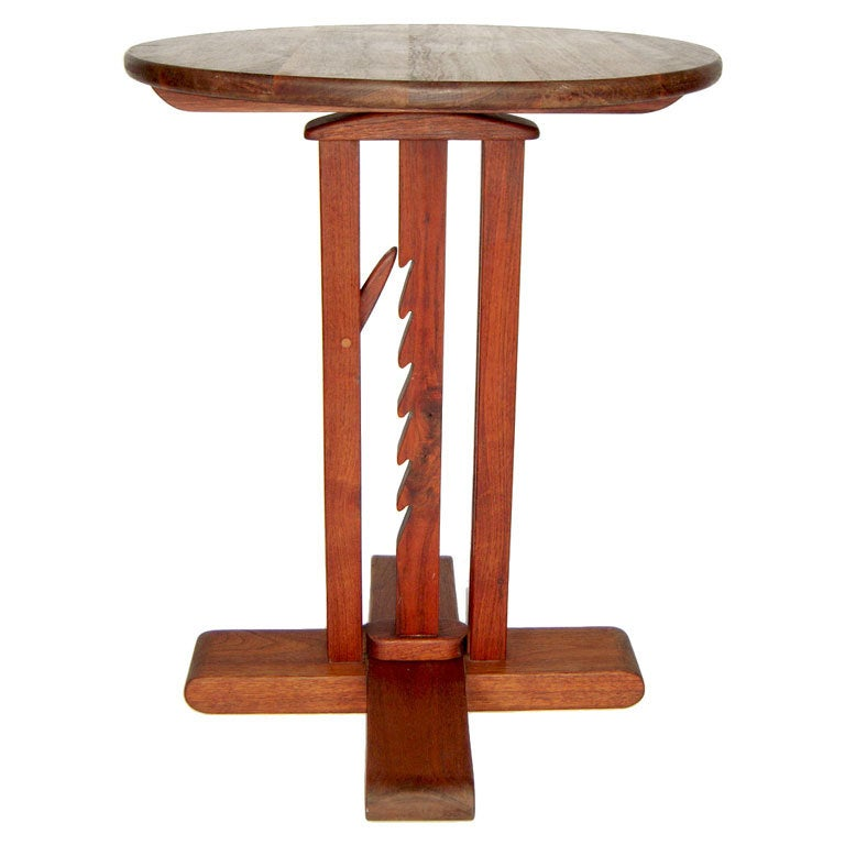 Wooden Studio Furniture ~ Studio crafted wooden adjustable pedestal or end table at