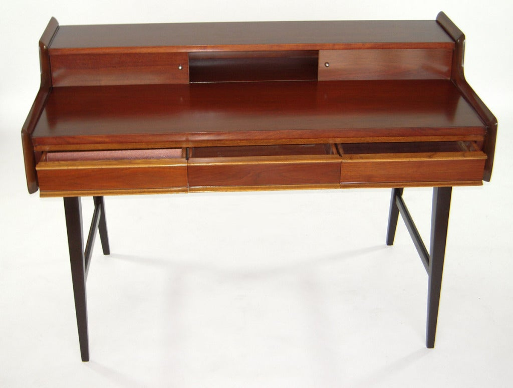 mid century modern writing desk with compartments drawers image 5
