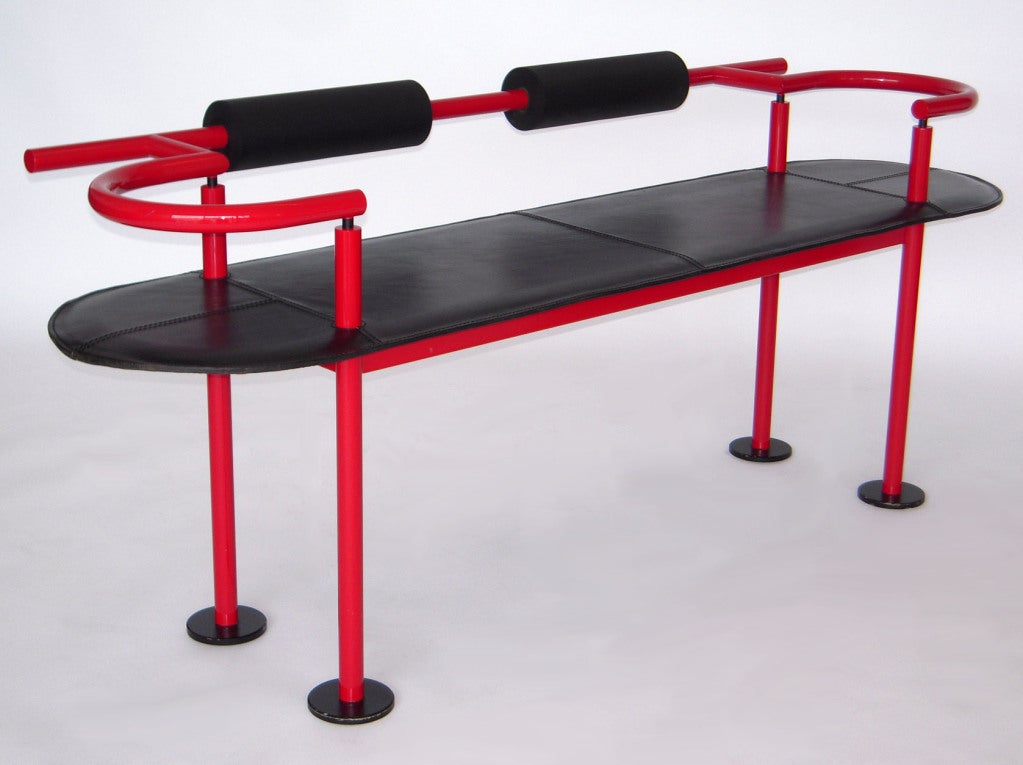 Modern Leather Bench Post Modern Leather Bench Attributed To Ettore Sottsass At