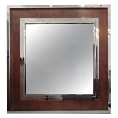 Monumental Stainless Steel and Copper Wall Mirror