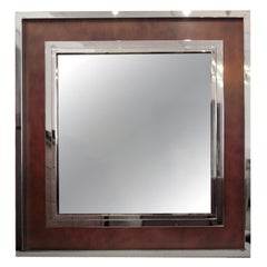 Monumental Steel and Copper Wall Mirror by Maison Jansen 1980's