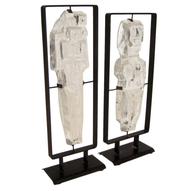 Pair of Glass and Iron Sculptures by Erik Höglund