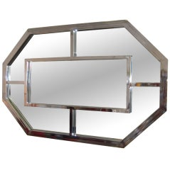 Large Stainless Steel Mirror Attributed  to Milo Baughman