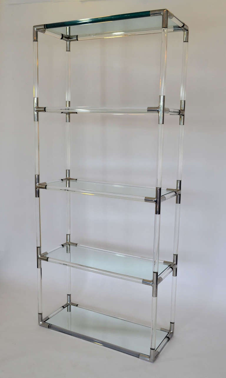 etagere in tubular lucite and aluminum by charles hollis. Black Bedroom Furniture Sets. Home Design Ideas