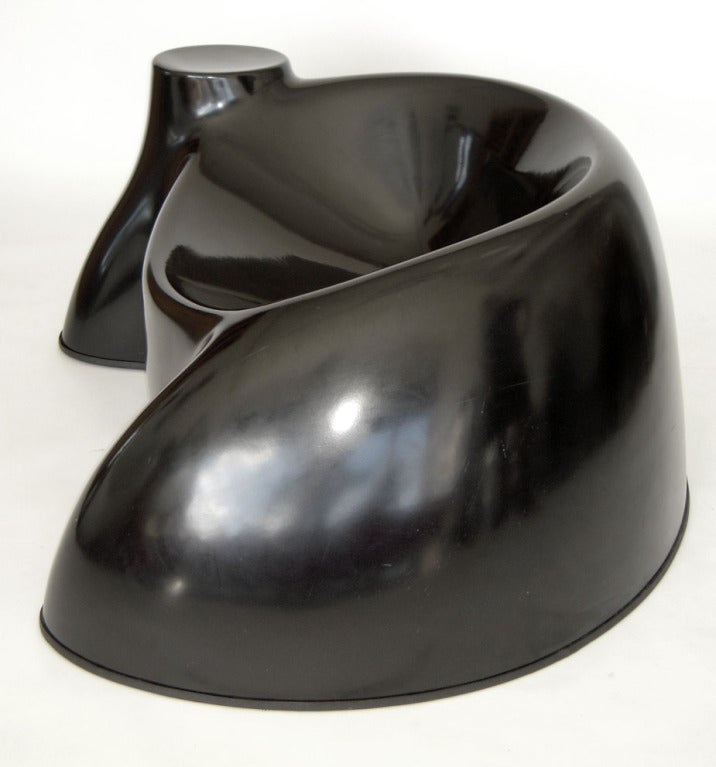 """""""Castle"""" chair.  Black gel-coated molded fiberglass with plastic base protector.  PLEASE NOTE: We answer all e-mails within a couple of hours of receipt during regular business hours. If you attempt to e-mail us by using the """"contact dealer"""" link"""
