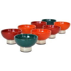 Modernist Sherbert Bowls in Ceramic and German Silver