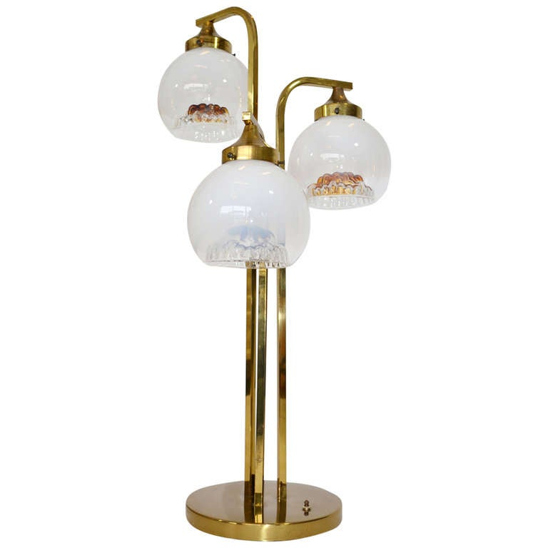 Italian glass and brass table lamp by a v mazzega for for Waterfall lamp shade