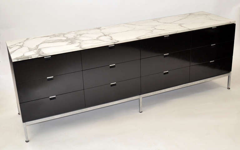 florence knoll executive marble top credenza at 1stdibs. Black Bedroom Furniture Sets. Home Design Ideas