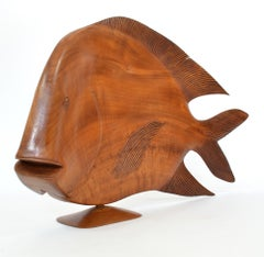 Monumental Brazilian Wood Carving of a Fish