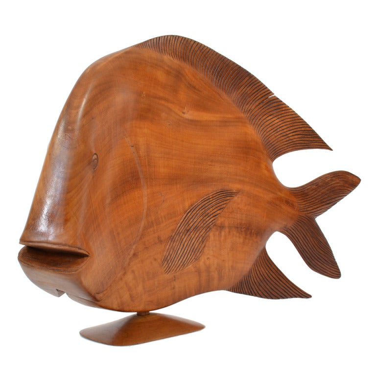 Monumental Brazilian Wood Carving of a Fish For Sale