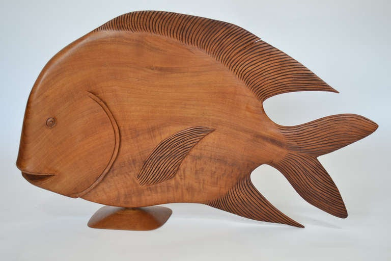 Monumental brazilian wood carving of a fish for sale at