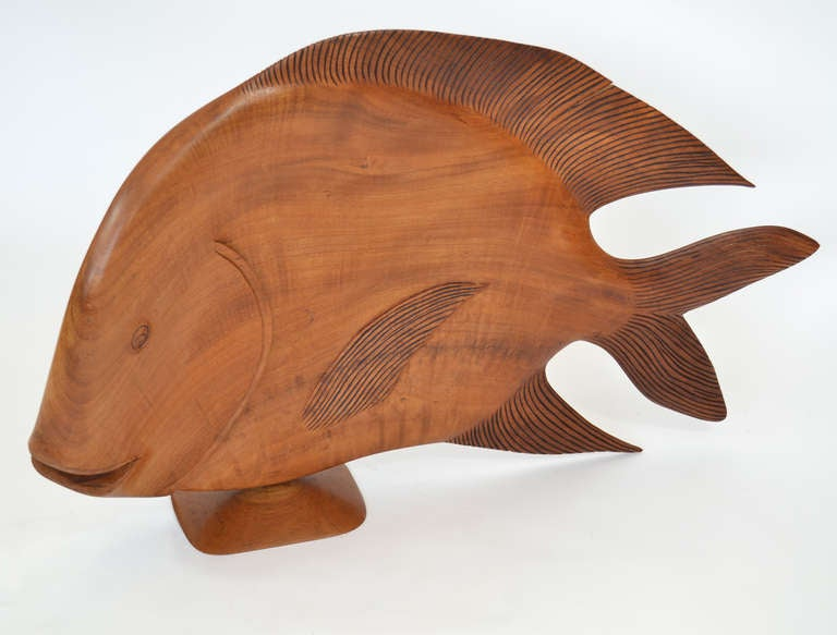 Monumental Brazilian Wood Carving of a Fish In Good Condition For Sale In Ft Lauderdale, FL