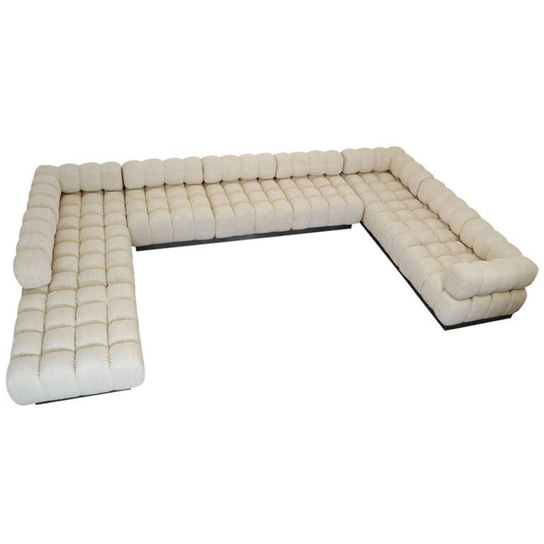 Rare 9 Piece Modular Sofa Deep Tuft By Harvey Probber