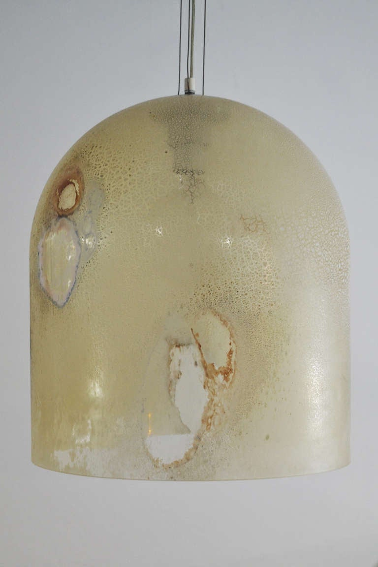 Hanging dome light fixture by alfredo barbini in scavo glass at hanging dome light fixture by alfredo barbini in scavo glass 3 arubaitofo Gallery