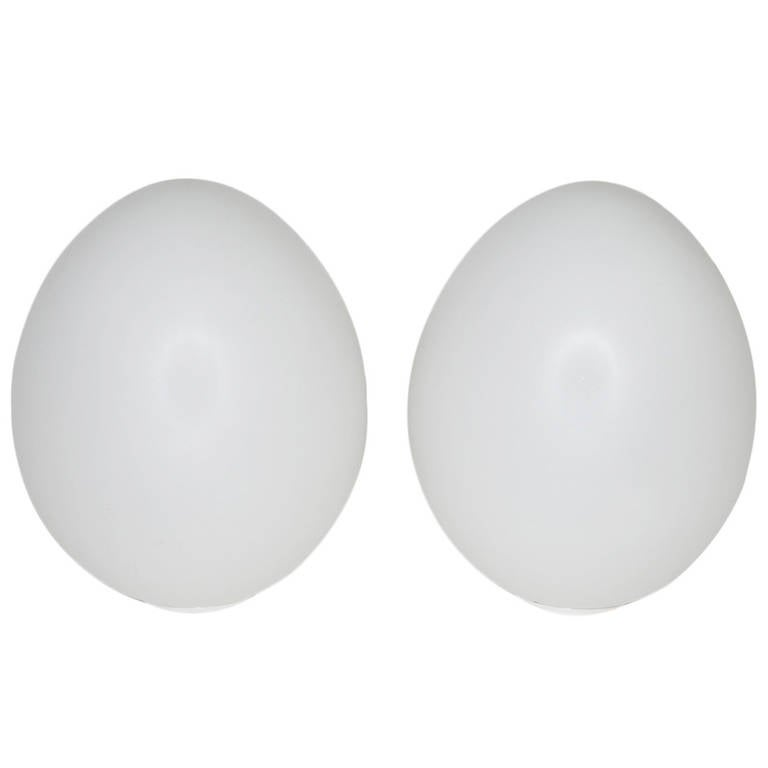 Egg Shaped Table pair of large italian glass 'egg' shaped table lamps for sale at