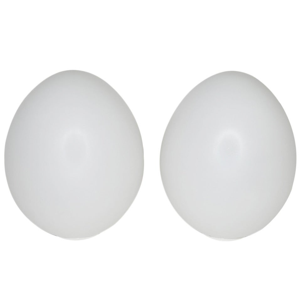 Pair of Large Italian Glass 'Egg' Shaped Table Lamps