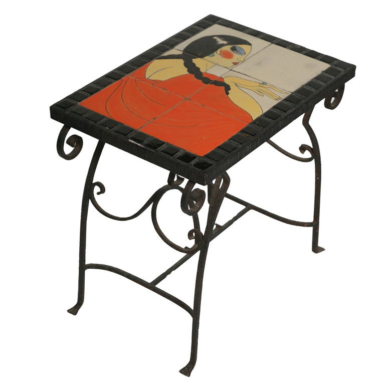 Art Deco California Tile Occasional End Table, Catalina For Sale