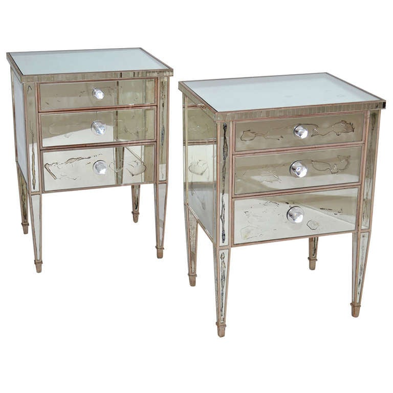 French 1940 39 s mirrored night stands at 1stdibs for Mirror nightstand