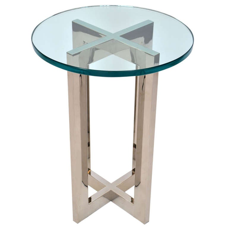 1970 39 S Cruciform Side Table In Glass And Mirrored