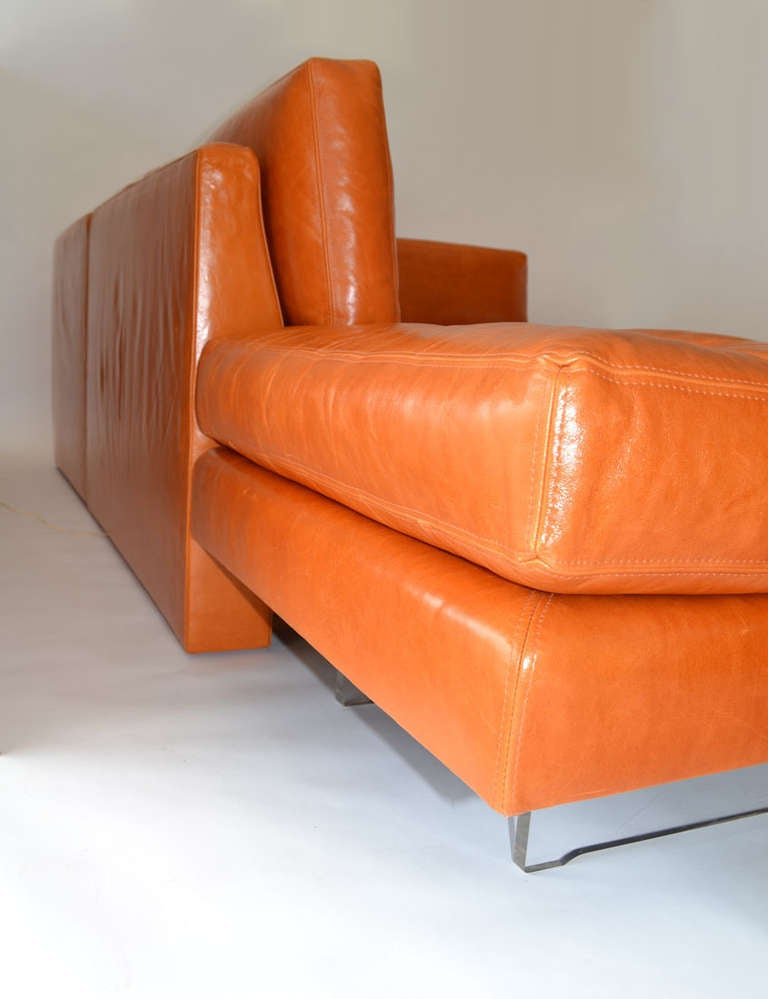 Sofa By Vladimir Kagan In Leather On Lucite Legs With Lights At 1stdibs