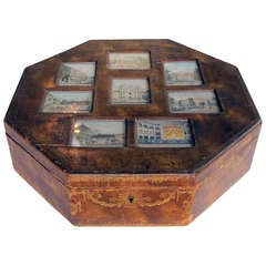 A Large & Rare Austrian Leather-Covered Octagonal Box with 8 Engravings