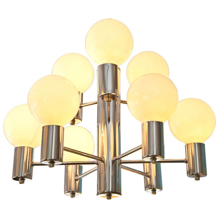 Mid-Century Modern Chrome Chandelier For Sale at 1stdibs