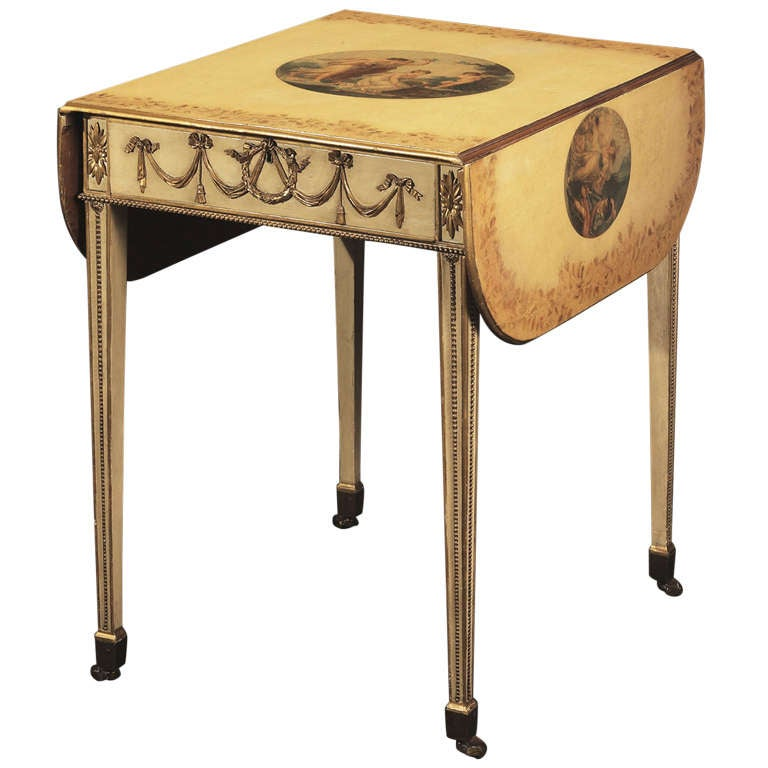 George III Cream-Painted and Gilt Pembroke Table
