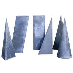 Set of Six Vintage Zinc Geometric Form