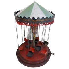 Large Turn of the Century Mechanical Carousel