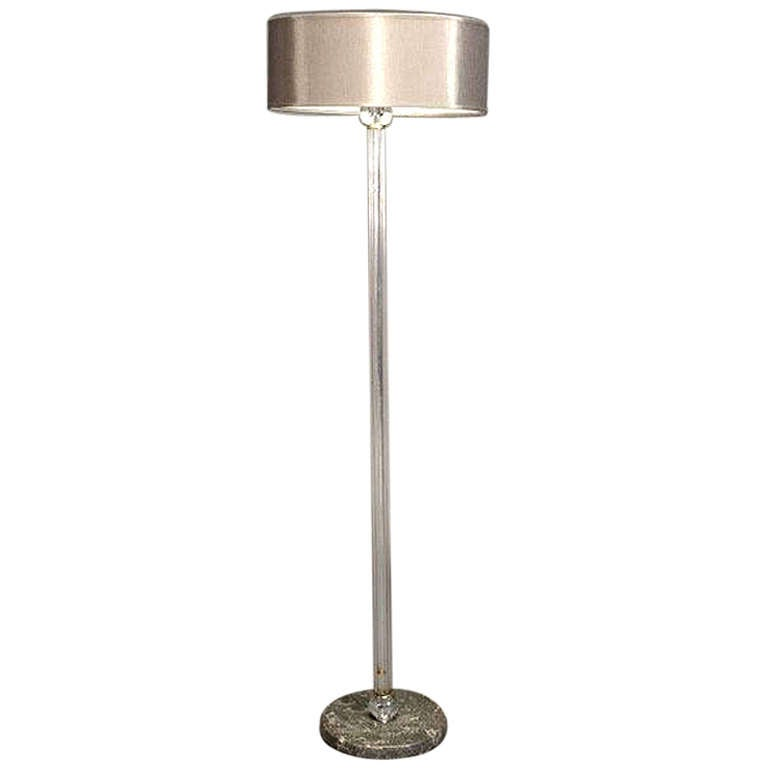 glass ball and rod floor lamp with marble base art deco at 1stdibs. Black Bedroom Furniture Sets. Home Design Ideas