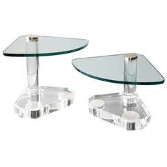 Pair of Cantilevered Lucite & Glass Tables