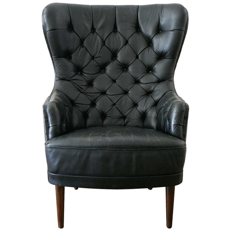Tufted Leather High Back Chair Denmark 1950 At 1stdibs