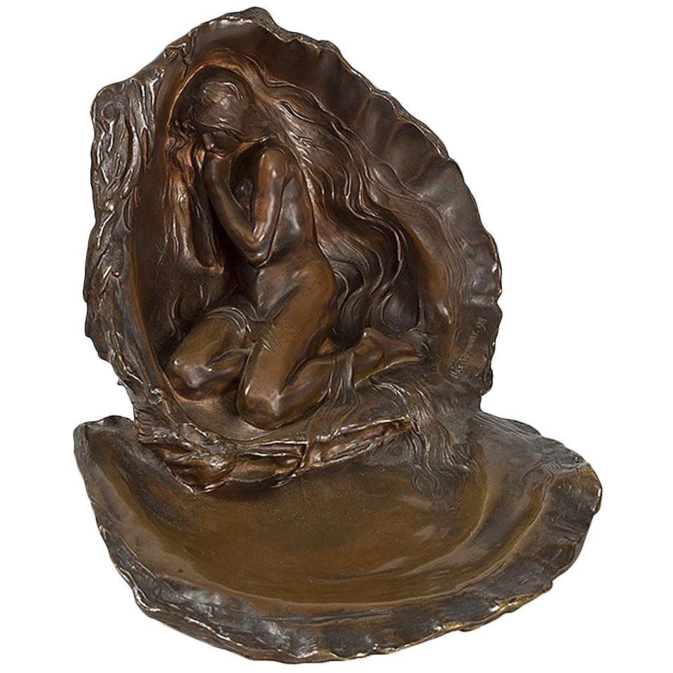 """Max Blondat French Art Nouveau Sculpture, """"La Perle"""""""