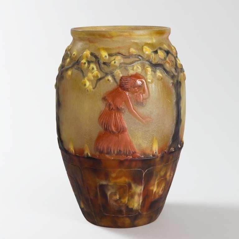 french art deco p e de verre glass vase by gabriel argy. Black Bedroom Furniture Sets. Home Design Ideas