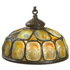 "Tiffany Gold and Yellow Opalescent  ""Turtleback"" Tile Chandelier"