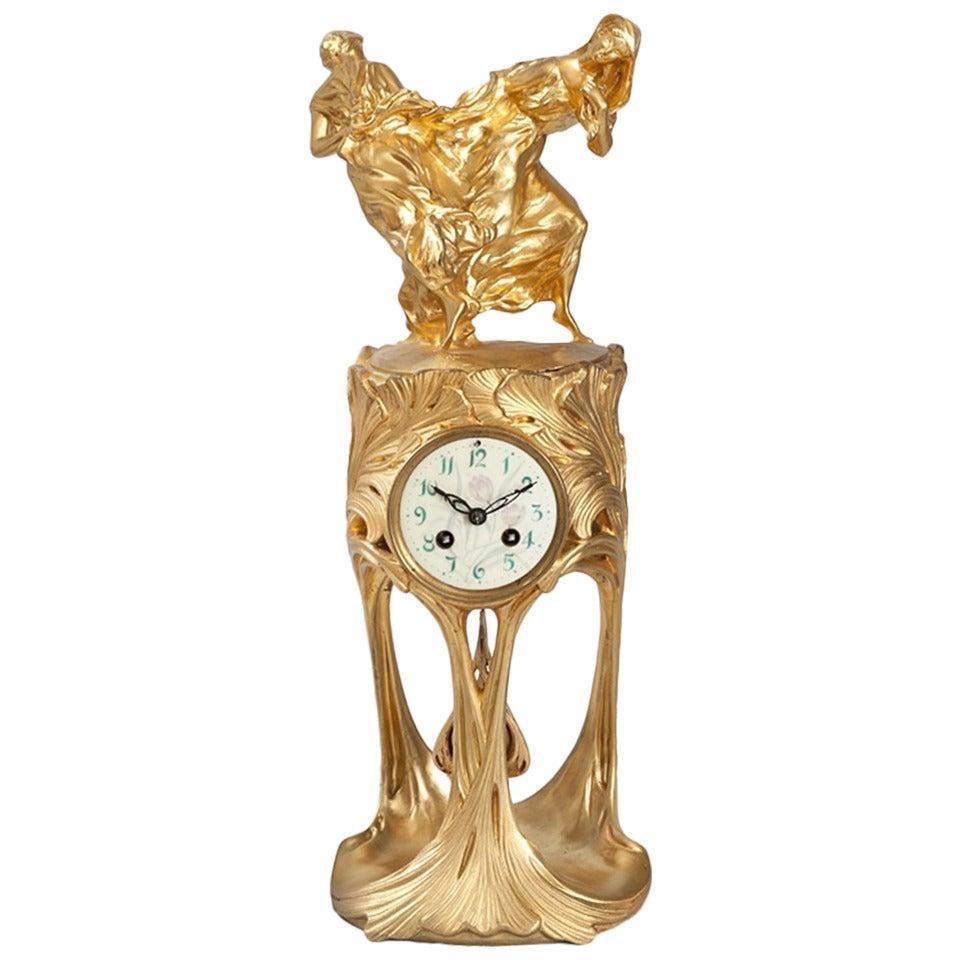 Dufrène French Art Nouveau Gilt Bronze Clock