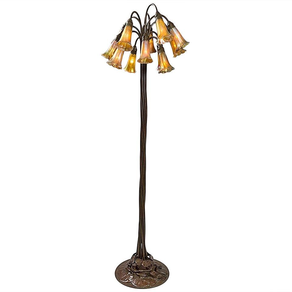 Tiffany studios 12 light lilly bronze floor lamp at 1stdibs for Tiffany floor lamp value