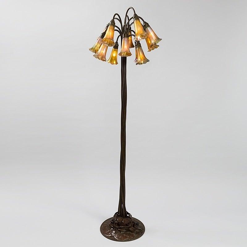 tiffany studios 12 light lilly bronze floor lamp at 1stdibs. Black Bedroom Furniture Sets. Home Design Ideas