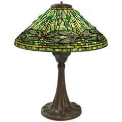 "Tiffany Studios ""Dragonfly"" Leaded Glass Table Lamp"