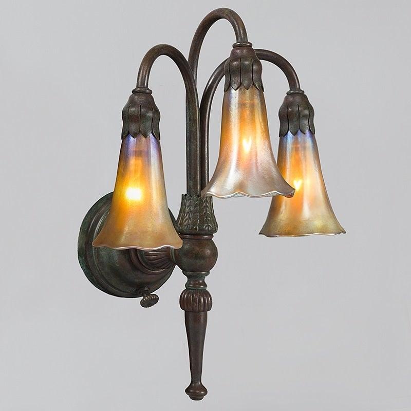 "Wall Lights York: Tiffany Studios New York ""Three-Light Lily"" Wall Sconces"