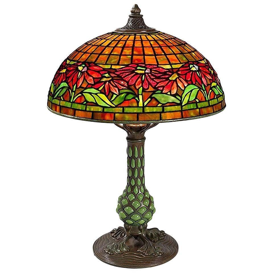 Tiffany Studios New York Quot Poinsettia Quot Table Lamp At 1stdibs