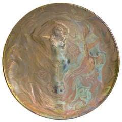 """Clement Massier Ceramic Charger, """"La Danse"""""""
