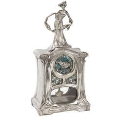Abel Landry Silvered Bronze Clock