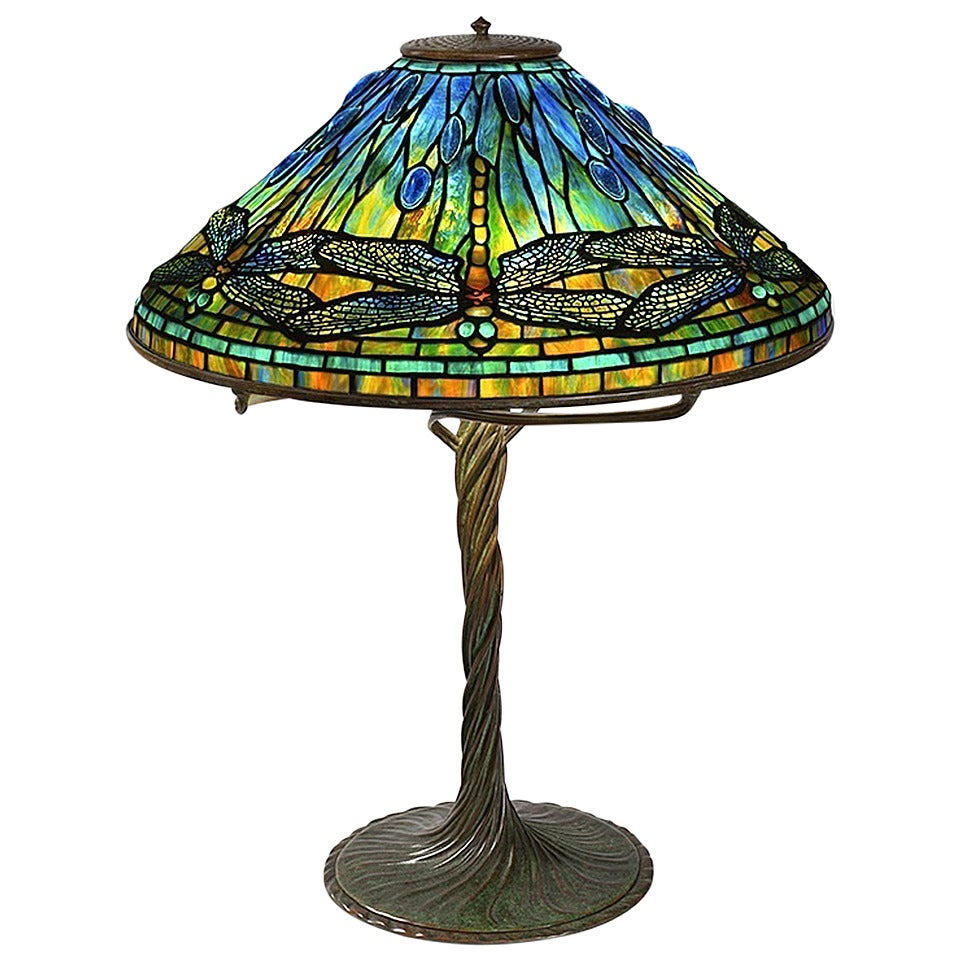 Tiffany studios new york quotdragonflyquot table lamp at 1stdibs for Taliesin 1 table lamp