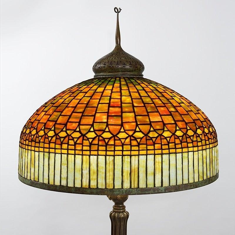 Tiffany studios new york quotcurtain borderquot floor lamp image 3 for Tiffany floor lamp value
