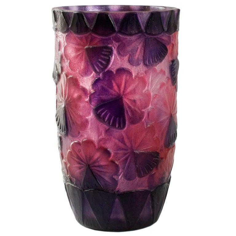 French art deco p te de verre vase by argy rousseau at 1stdibs for Deco vase en verre