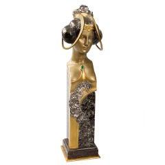 French Art Nouveau Bronze Sculpture by Korschann